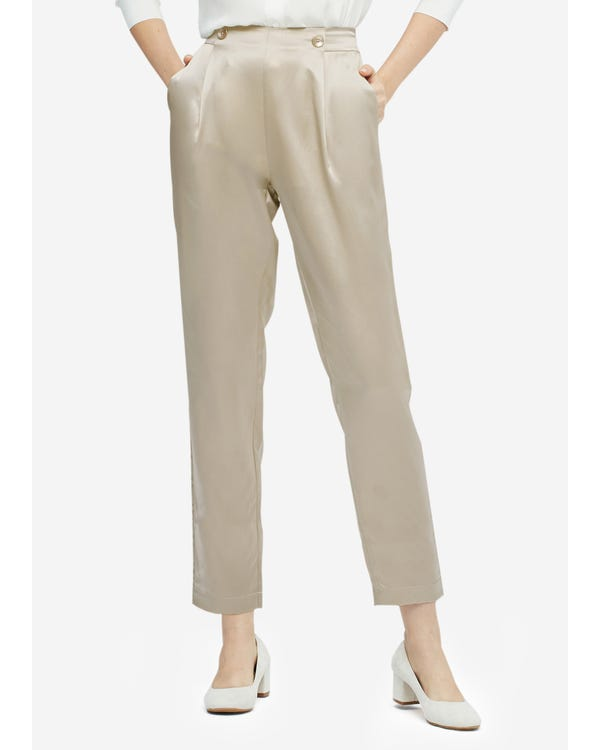 Women Elegant Elastic Waist Silk Pants Bright Coffee 29B