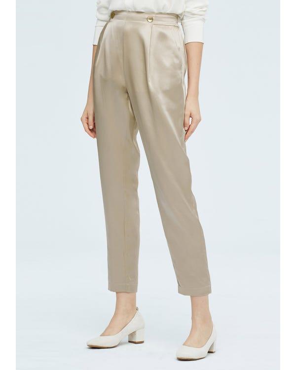 Women Elegant Elastic Waist Silk Pants