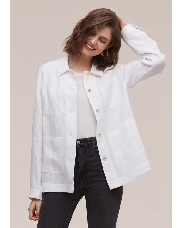 Classic Button Down Linen Jacket