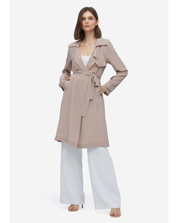 Elegant Womens Long Silk Trench Coat