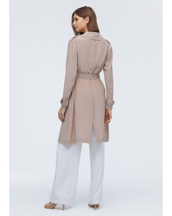 Elegant Womens Long Silk Trench Coat-hover