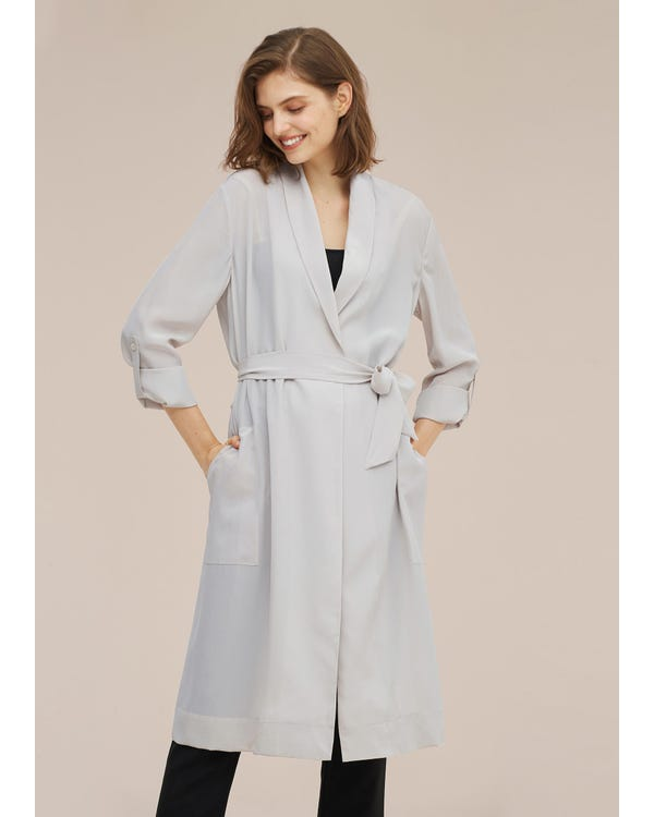 Women Mid-length Solid Color Silk Trench Coat-hover