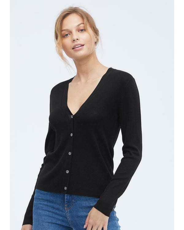 Basic Seidenstrick Jacke mit V-Ausschnitt Black-leather S