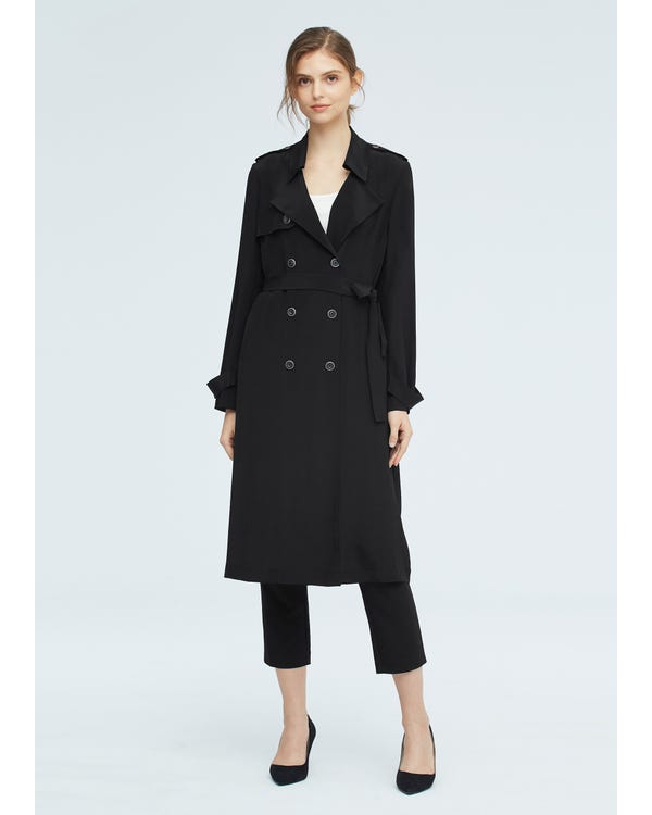 Classic Woman Double Breasted Silk Trench Coat-hover