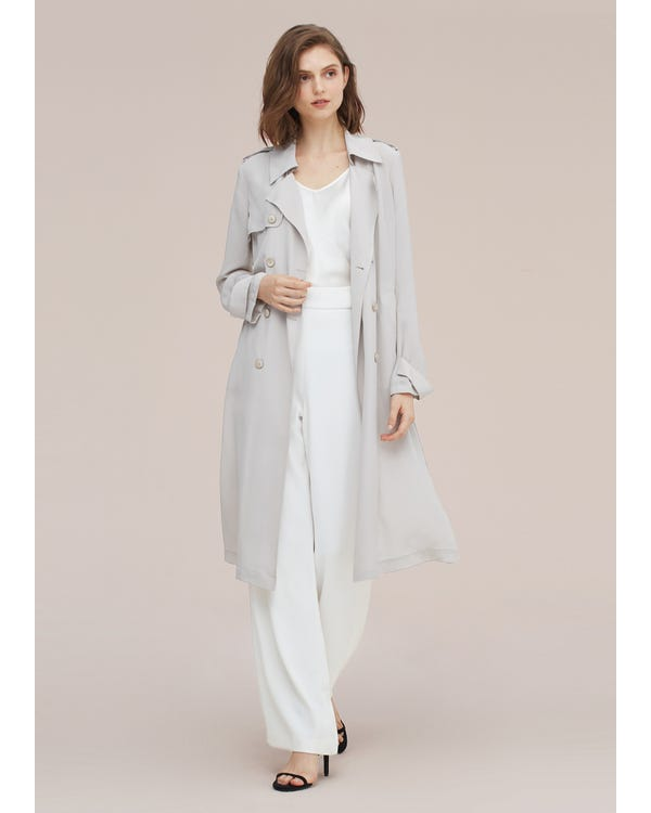 Classic Woman Double Breasted Silk Trench Coat Pale-Gray S