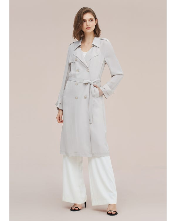 Classic Woman Double Breasted Silk Trench Coat Pale-Gray S-hover