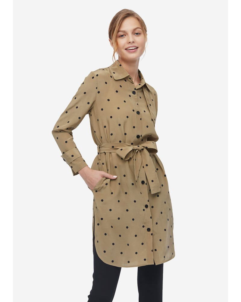 Classic Silk Polka Dot Coat
