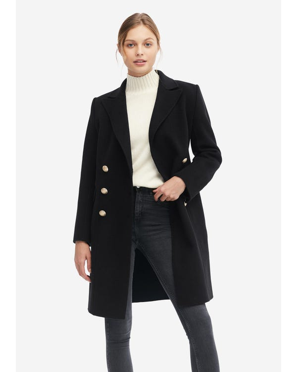 Military Style Double Breasted Wool Coat