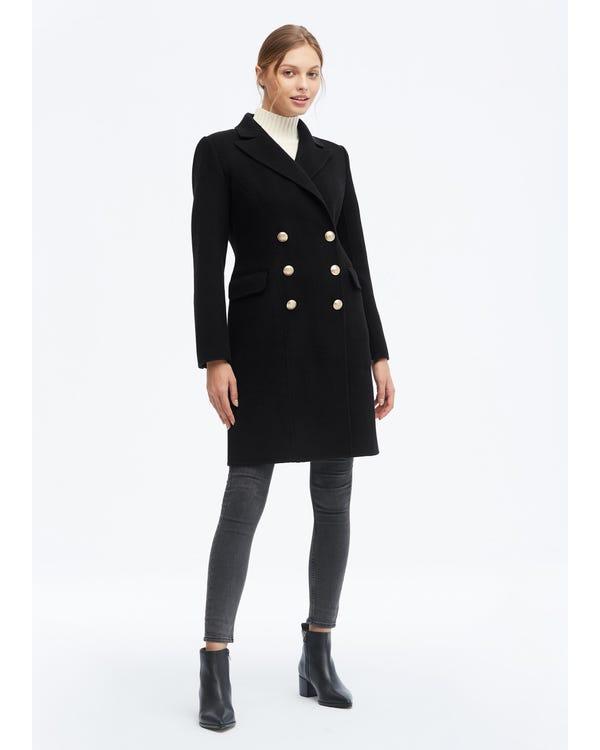 Cappotto in lana doppiopetto stile militare-hover