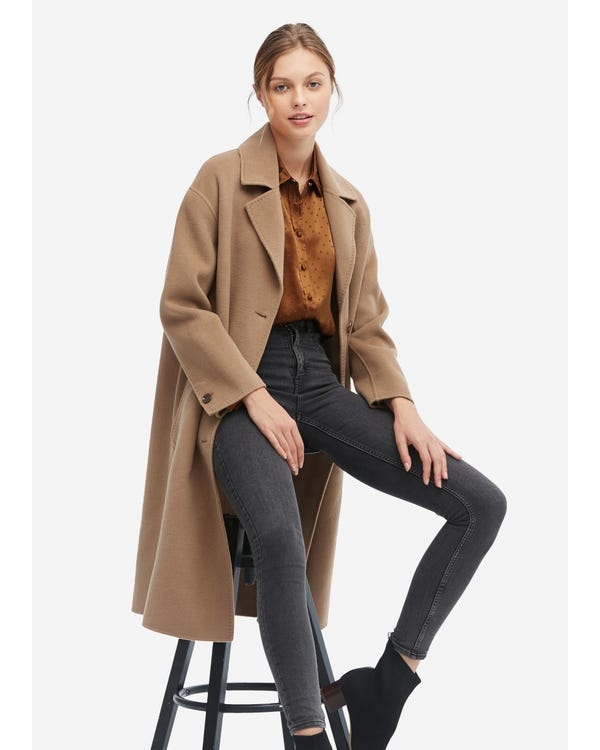 Women Concise Single Breasted Wool Coat Golden-Camel S