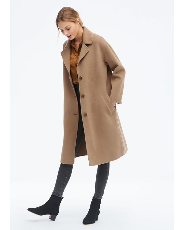 Women Concise Single Breasted Wool Coat Golden-Camel S-hover