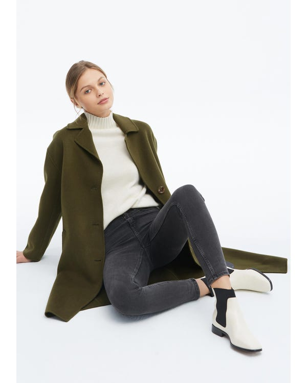 Women Concise Single Breasted Wool Coat