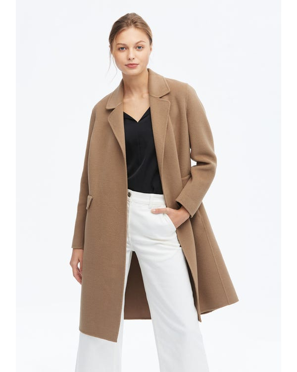 Casual Loose Wool Coat Golden-Camel S-hover