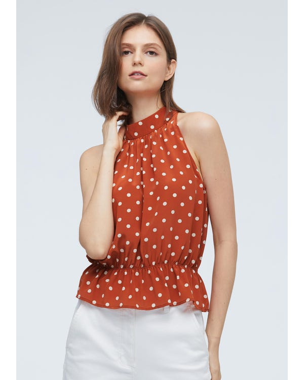 Elegant Polka Dot Silk Halter top-hover