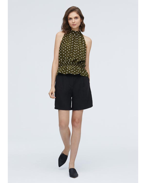 Elegant Polka Dot Silk Halter top Olive-Green-Polka-Dots XL-hover