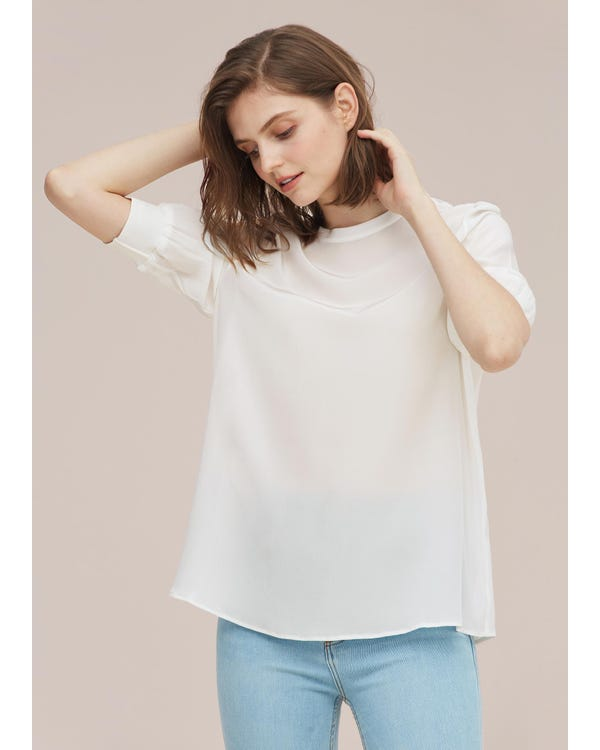 Elegant Casual Silk Tee With Rib Cuff Natural White XXL-hover