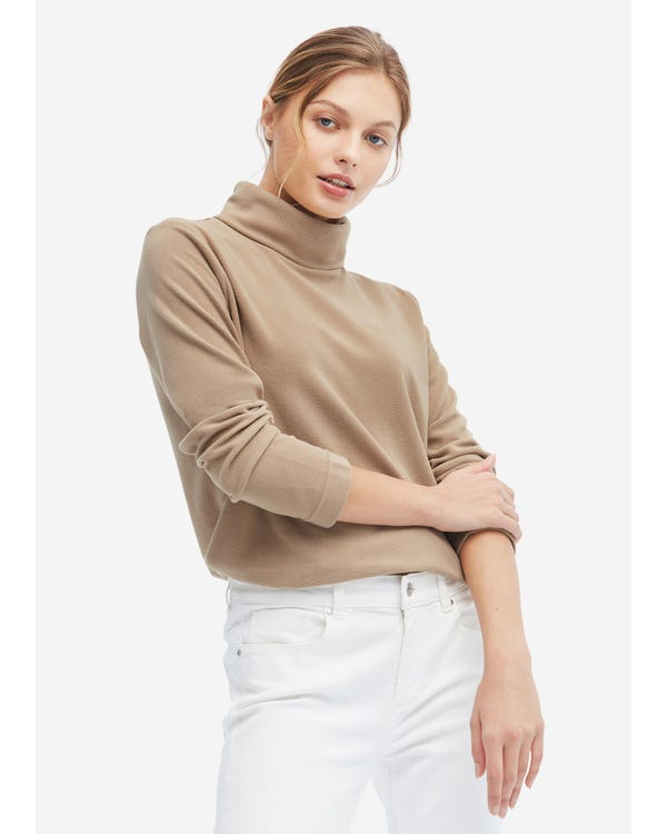 High Collar Polar Fleece Two-lapel T-shirt Milky-Coffee XL