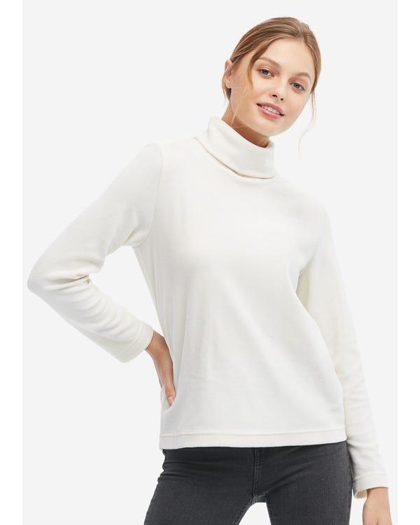 Polares Fleece T-Shirt mit hohem Kragen Natural White L