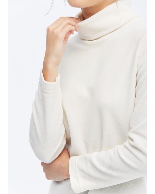 Polares Fleece T-Shirt mit hohem Kragen Natural White M-hover