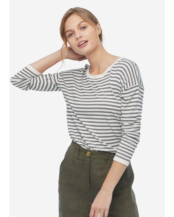 Frauen Schwarz Weiß Streifen Seide T-Shirt Black-And-White-Wavy-Stripes L