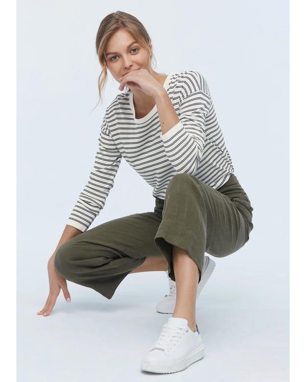 Frauen Schwarz Weiß Streifen Seide T-Shirt Black-And-White-Wavy-Stripes L-hover