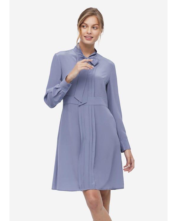 Damen Fliege Seide Midi Kleid Dusty-Blue XS