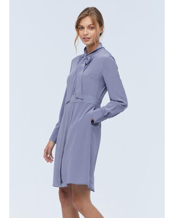 Damen Fliege Seide Midi Kleid Dusty-Blue L-hover