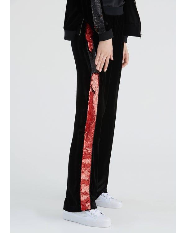 Braderie Pantalon Large En Soie Avec Paillettes Latérales M