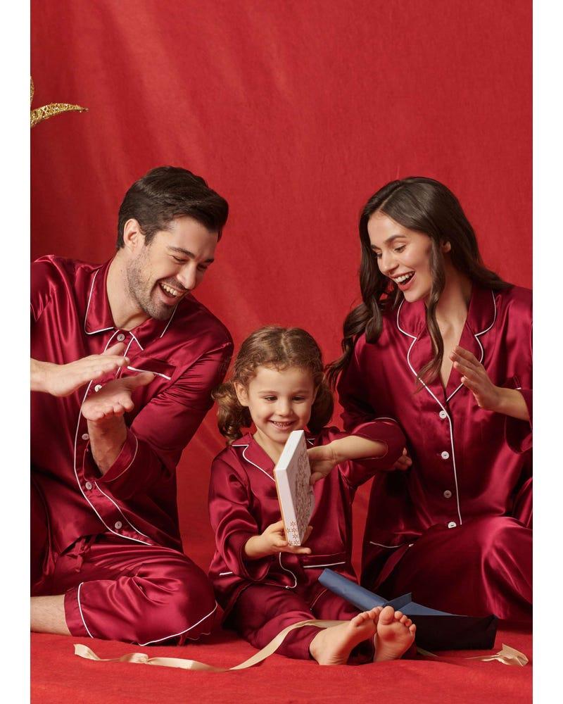 22 Momme Klassieke Volledige Lengte Zijden Koppel Pyjama Set
